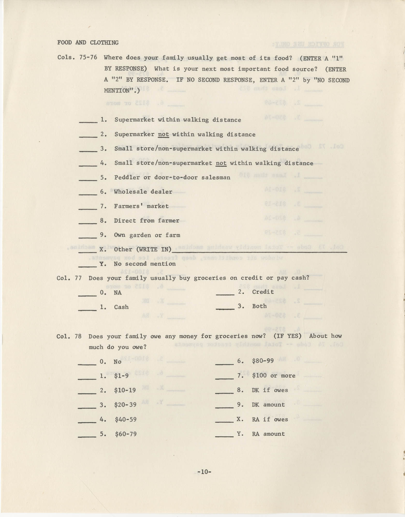 Household Questionnaire, Page 10