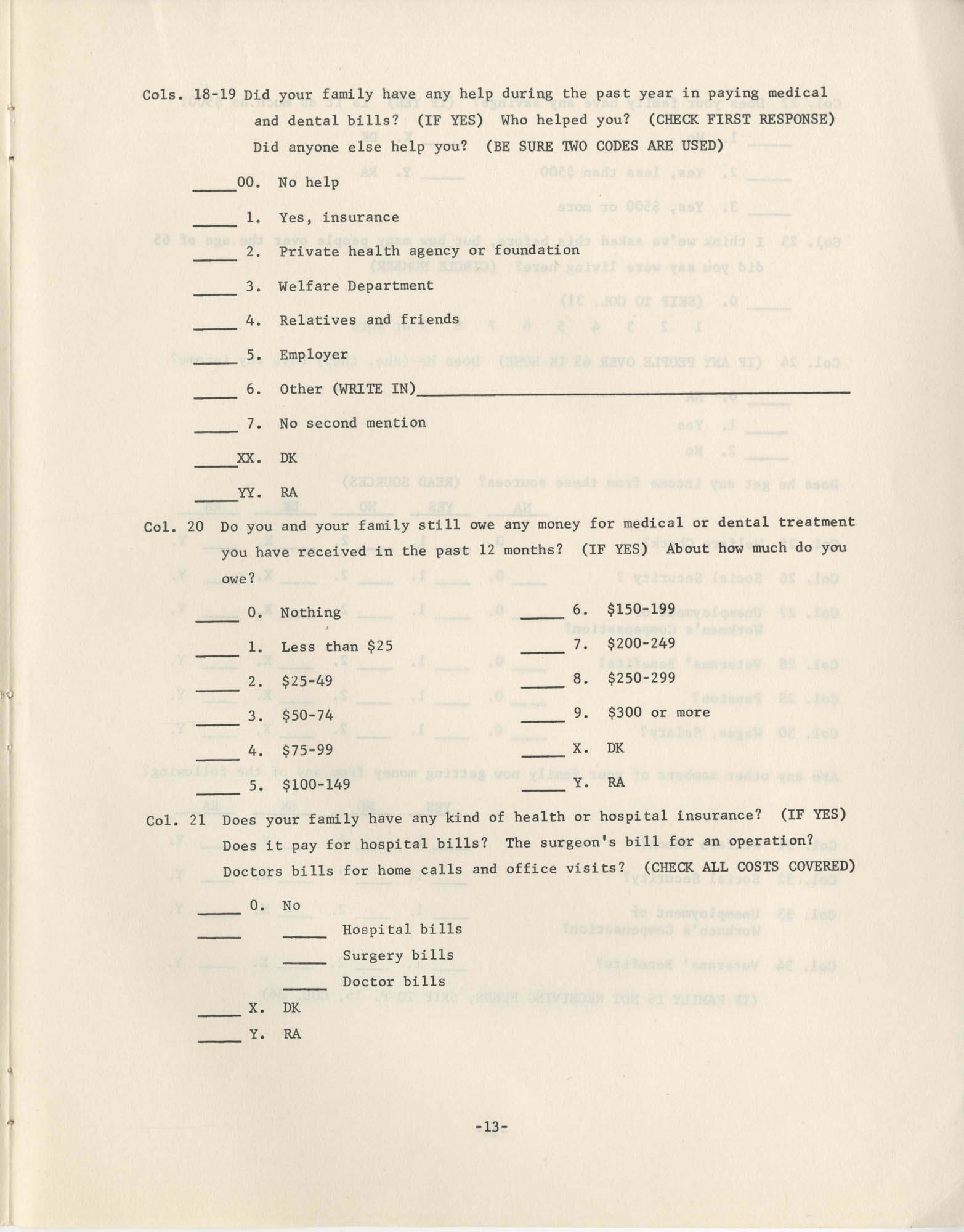 Household Questionnaire, Page 13