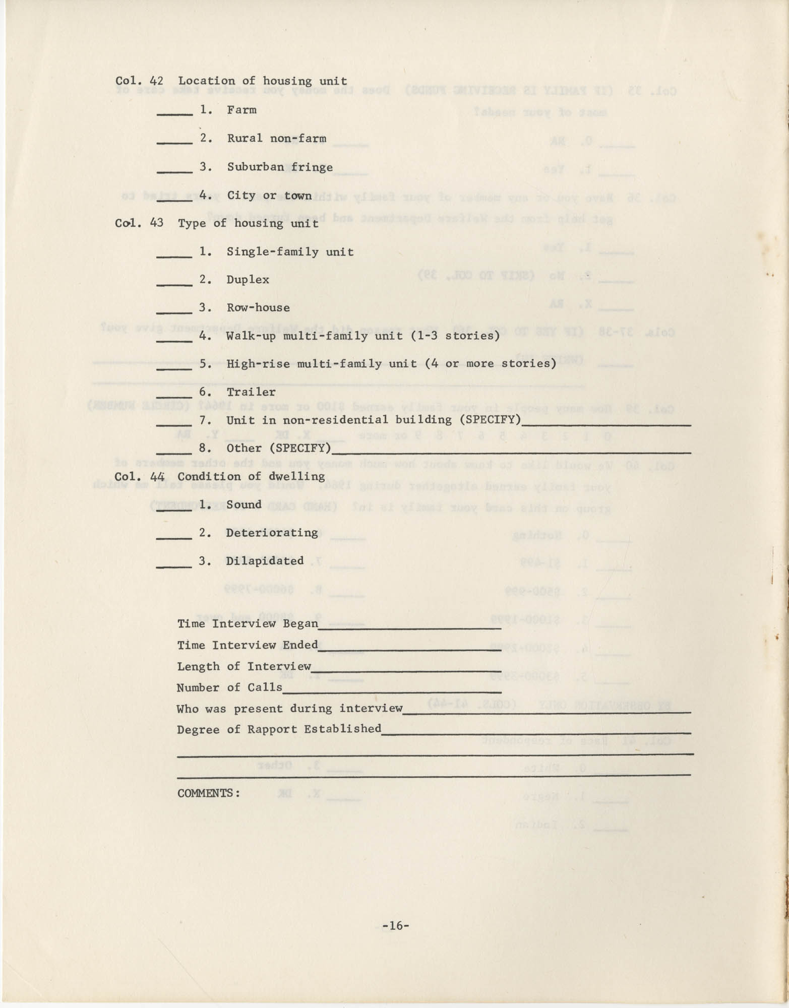 Household Questionnaire, Page 16
