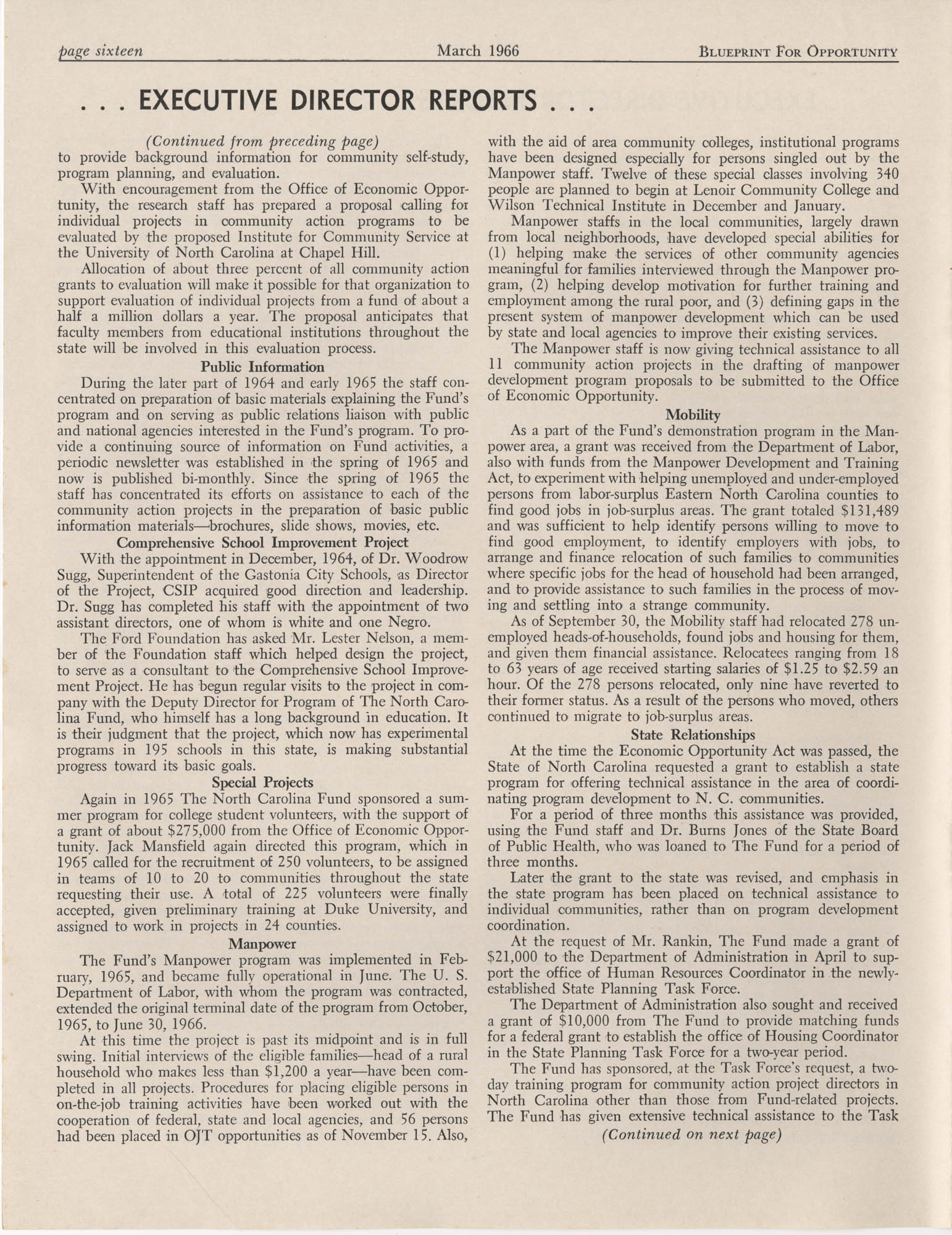 Blueprint for Opportunity, Vol. 2, No. 1, Page 16
