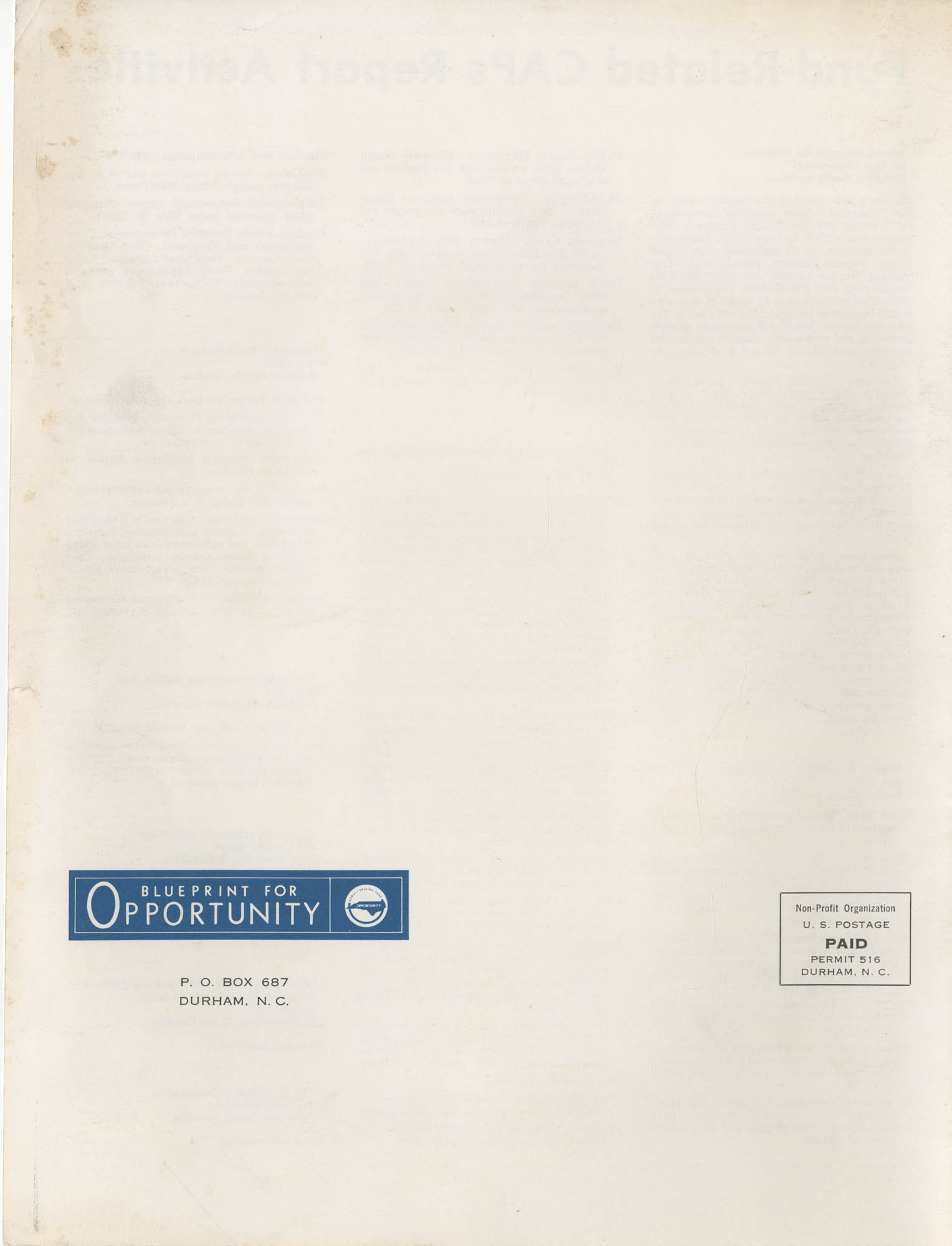 Blueprint for Opportunity, Vol. 2, No. 4, Back Cover