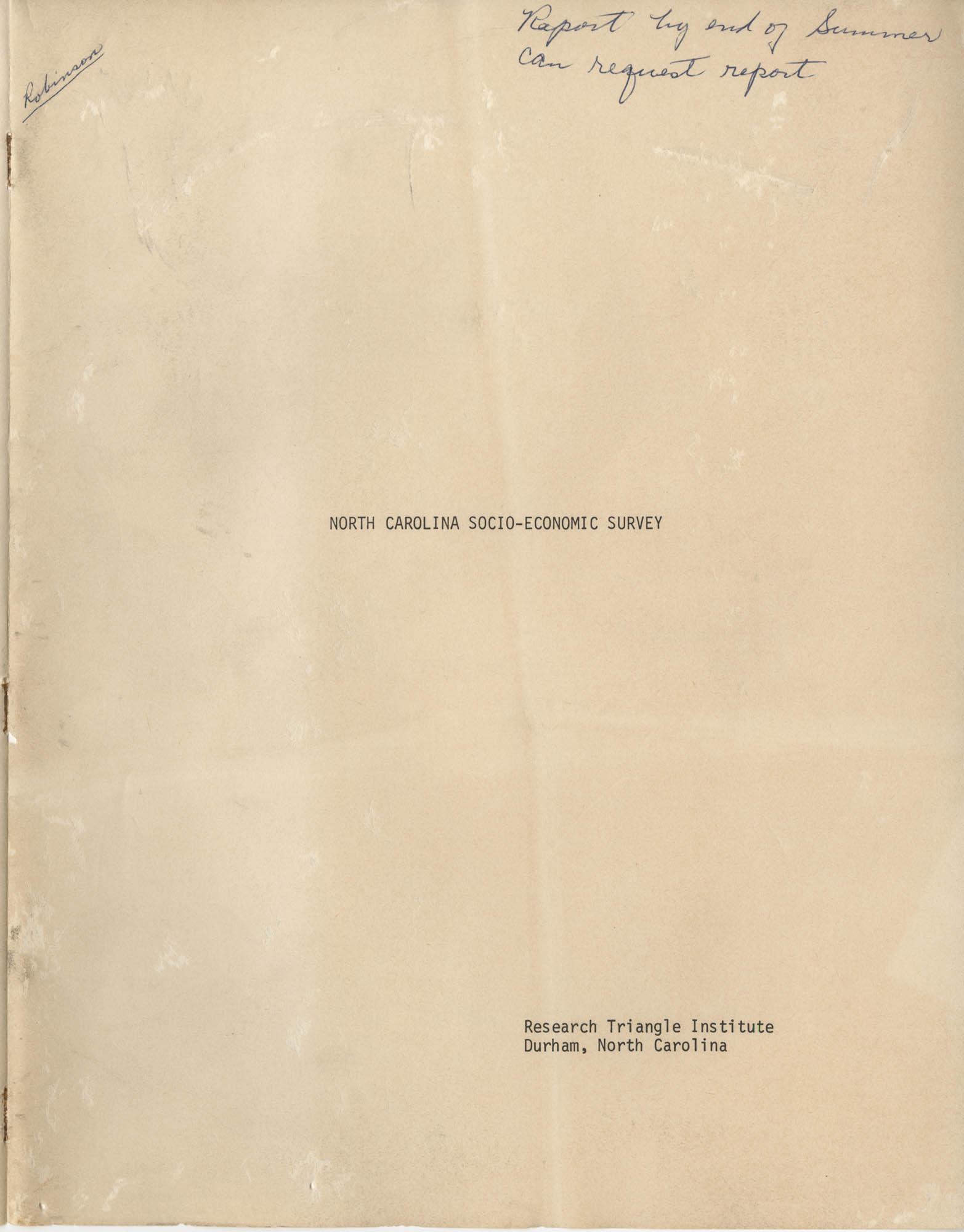 North Carolina Socio-Economic Survey, Front Cover