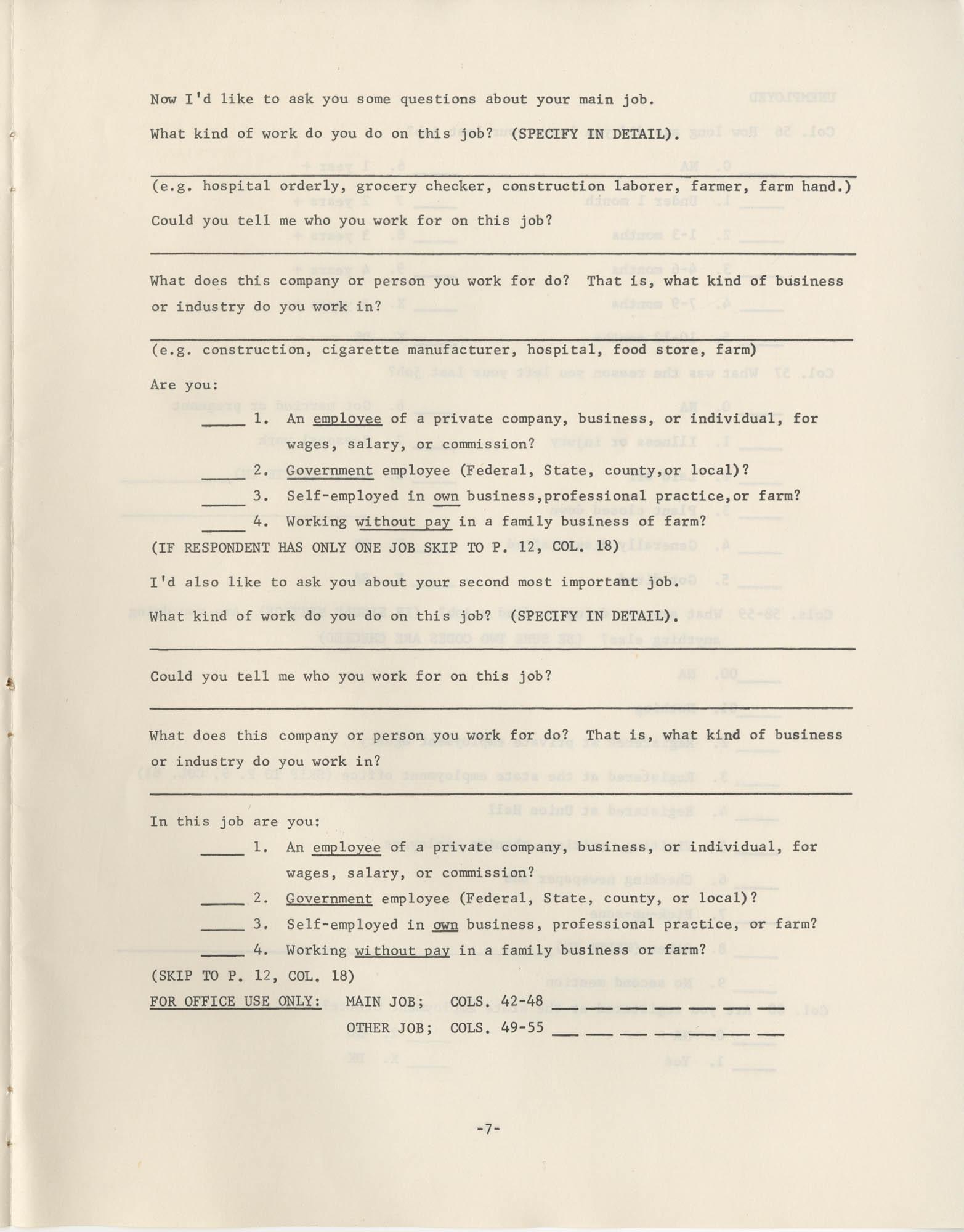 North Carolina Socio-Economic Survey, Page 7
