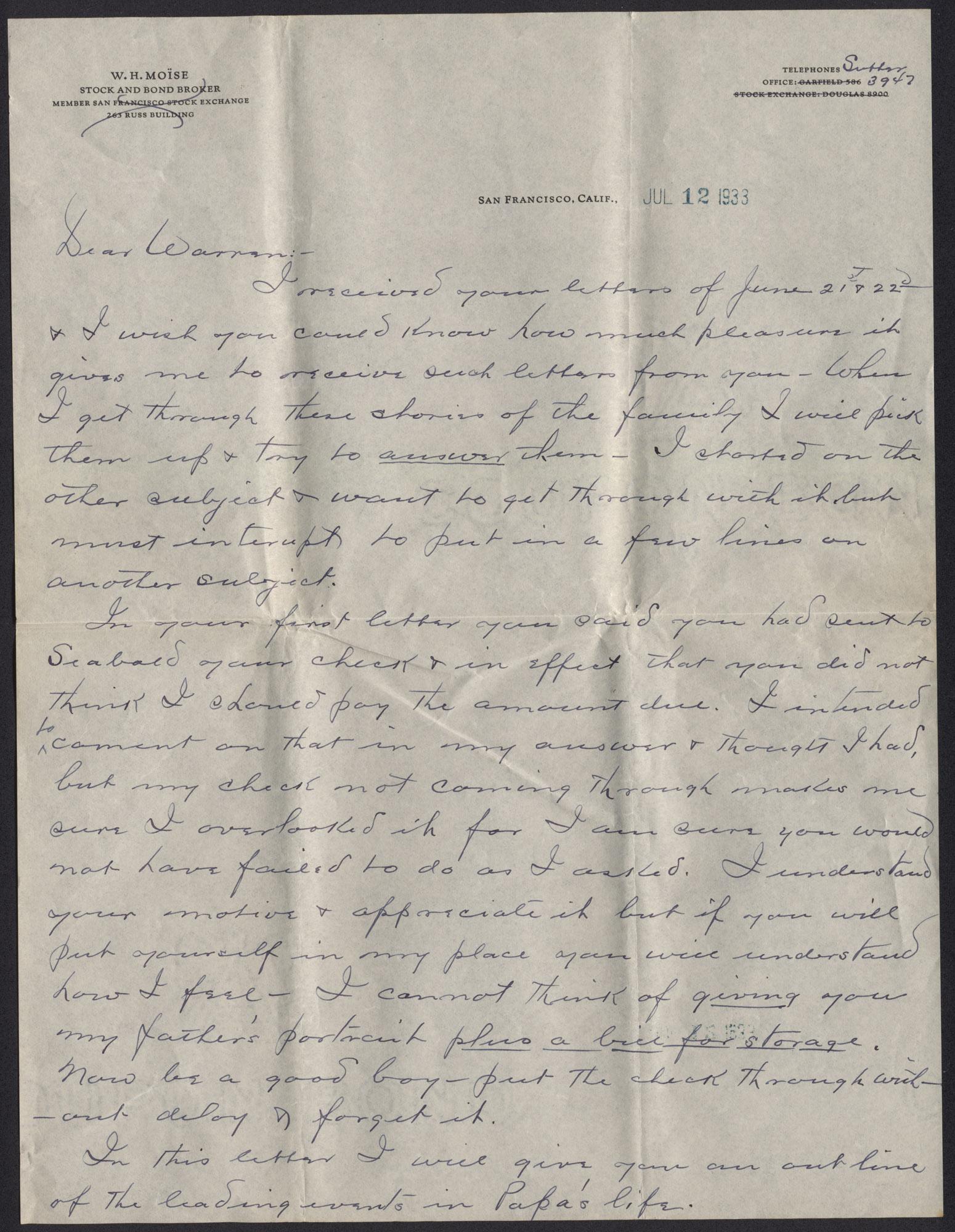 Letter from Warren Hubert Moise to Edwin Warren Moise, July 12, 1933