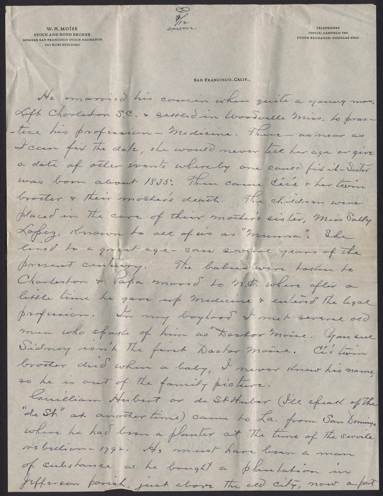 Letter from Warren Hubert Moise to Edwin Warren Moise, July 12, 1933, page 2