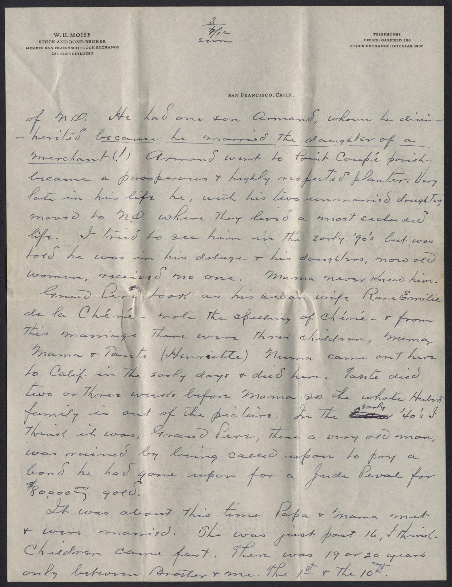 Letter from Warren Hubert Moise to Edwin Warren Moise, July 12, 1933, page 3