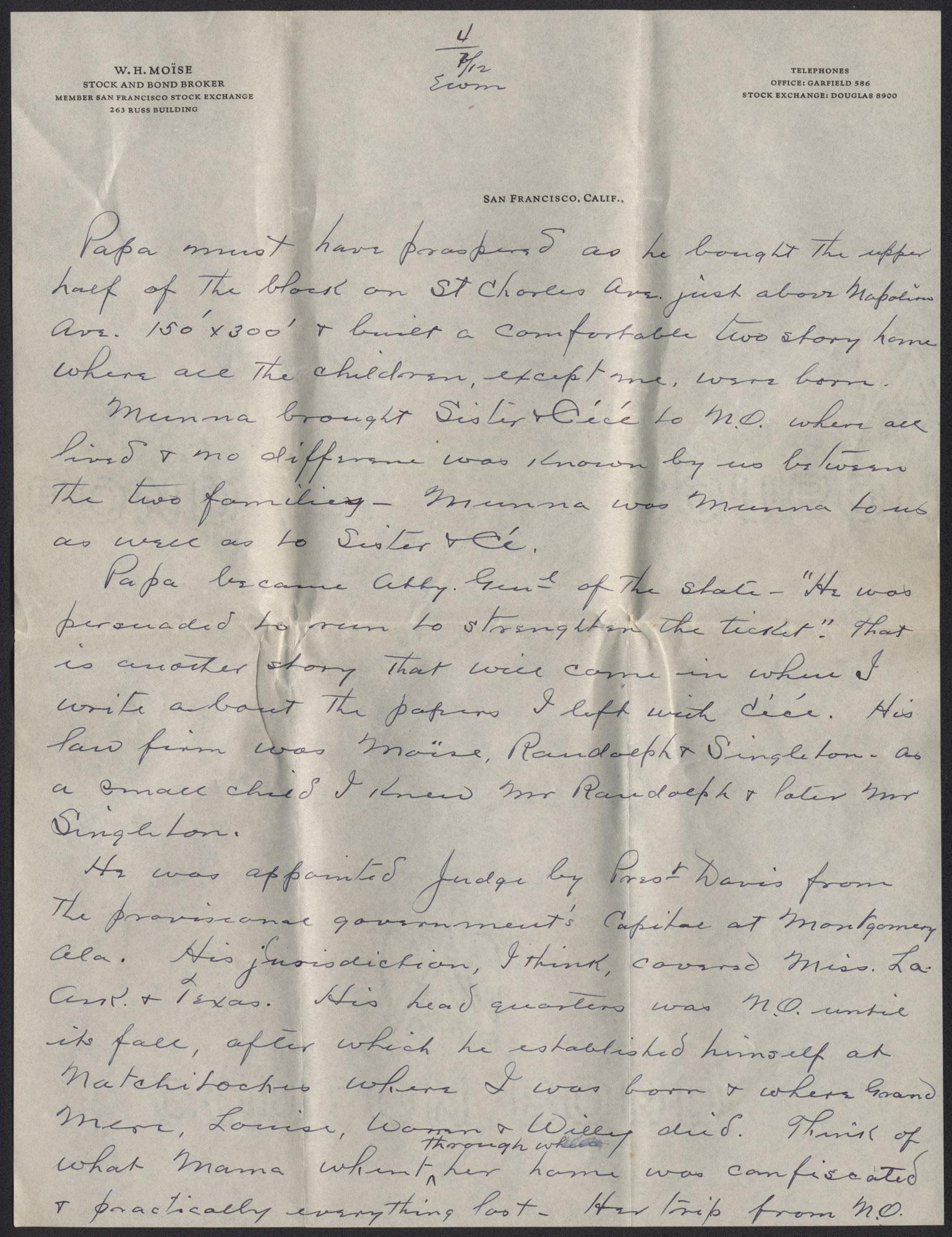 Letter from Warren Hubert Moise to Edwin Warren Moise, July 12, 1933, page 4