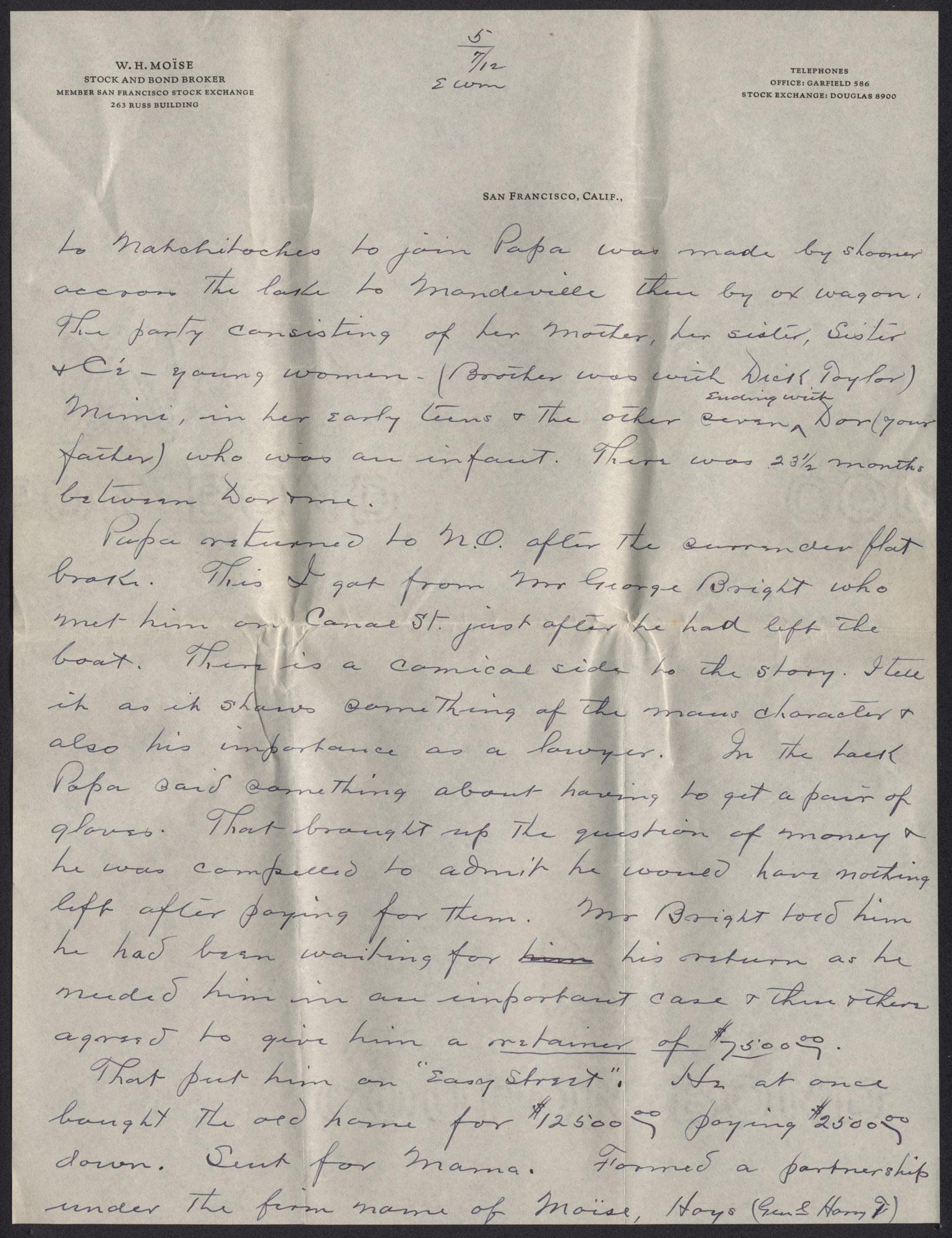 Letter from Warren Hubert Moise to Edwin Warren Moise, July 12, 1933, page 5