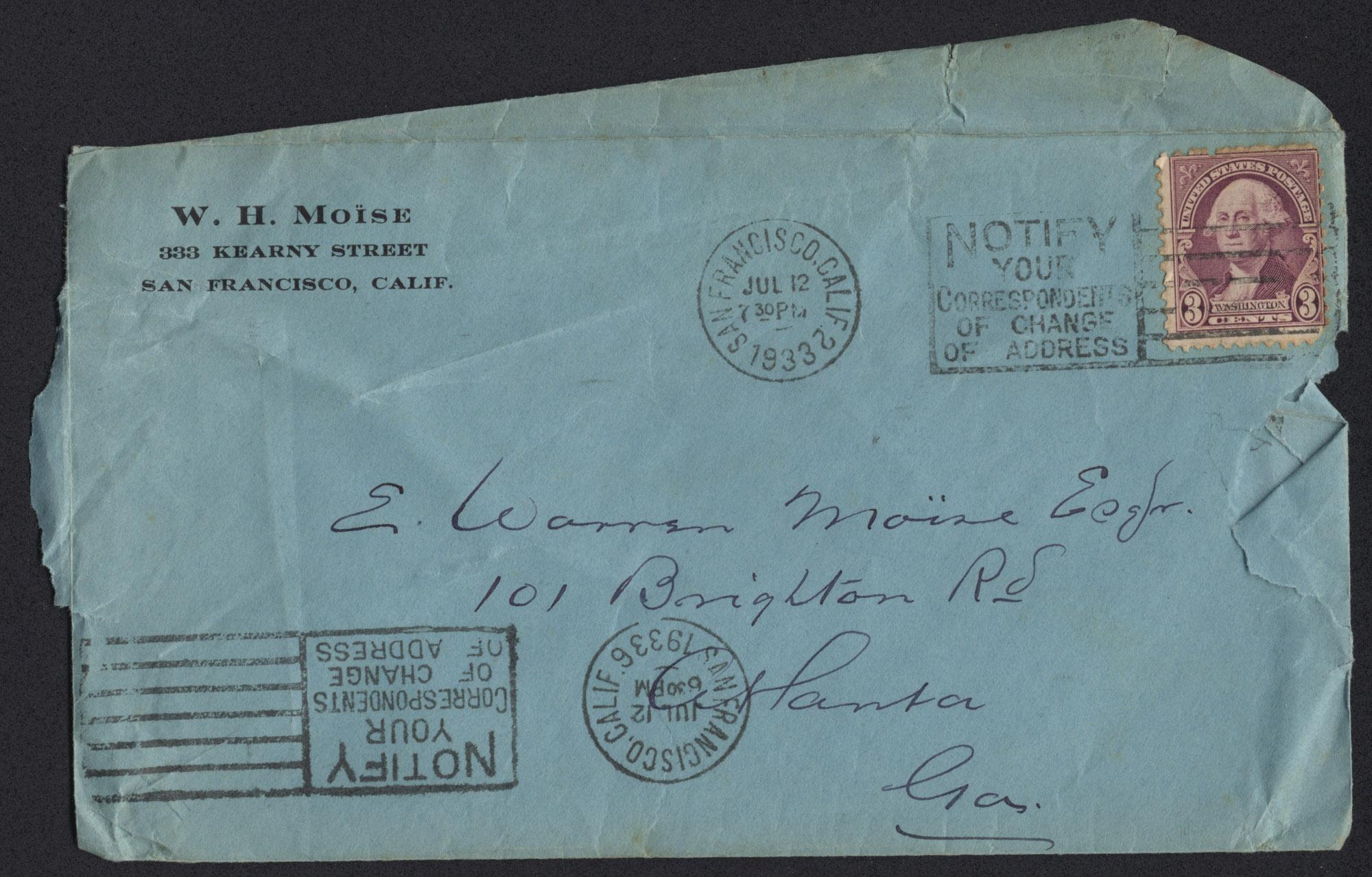 Letter from Warren Hubert Moise to Edwin Warren Moise, July 12, 1933, envelope