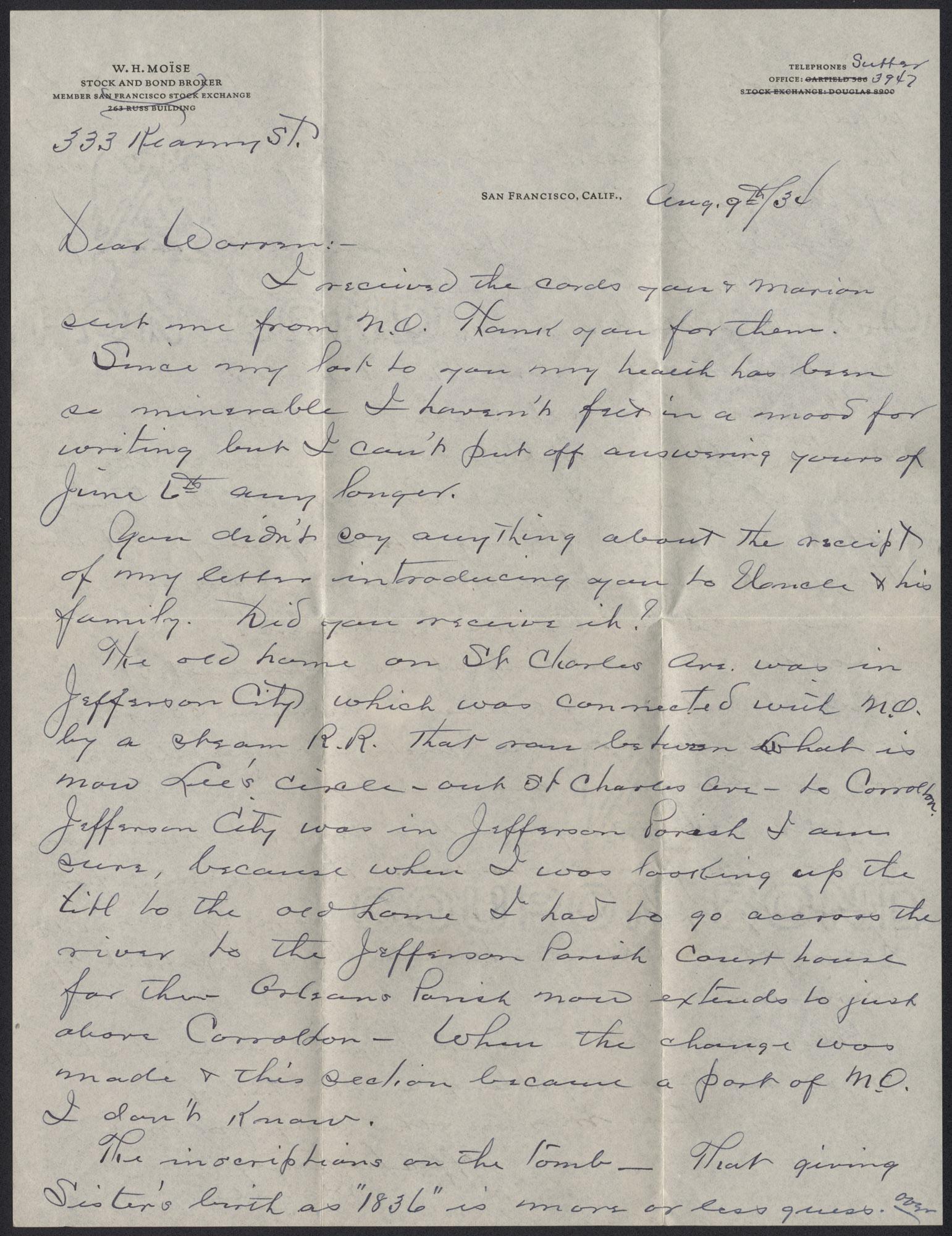 Letter from Warren Hubert Moise to Edwin Warren Moise, August 9, 1934