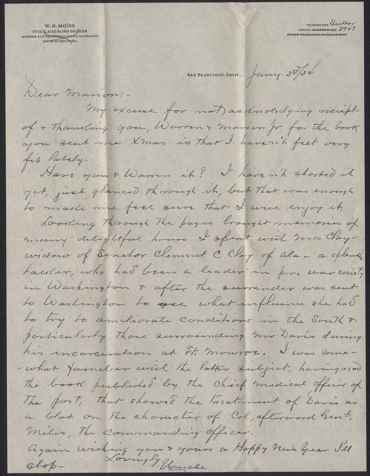 Letter from Warren Hubert Moise to Edwin Warren Moise, January 3, 1934