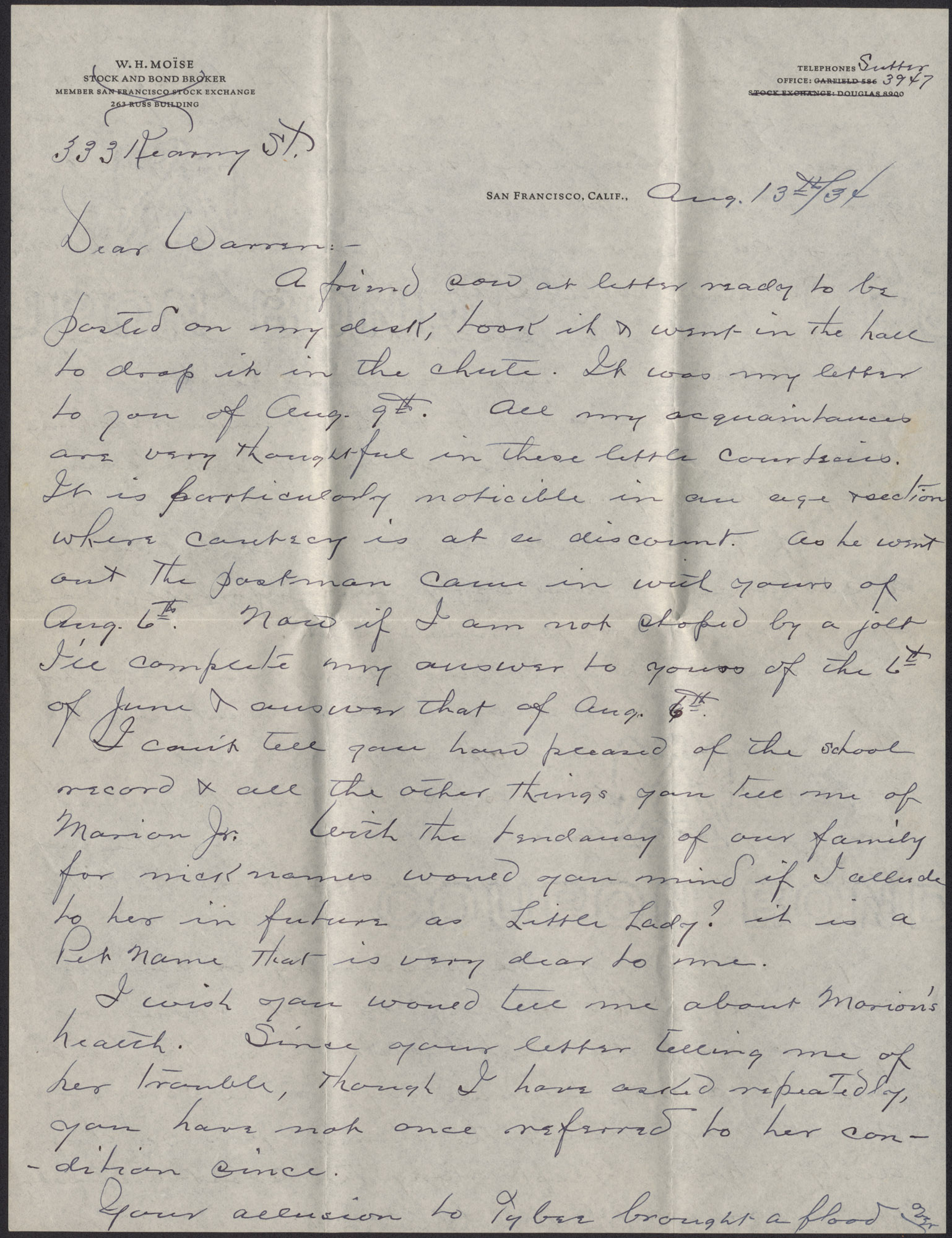 Letters from Warren Hubert Moise to Edwin Warren Moise, August 13, 1934