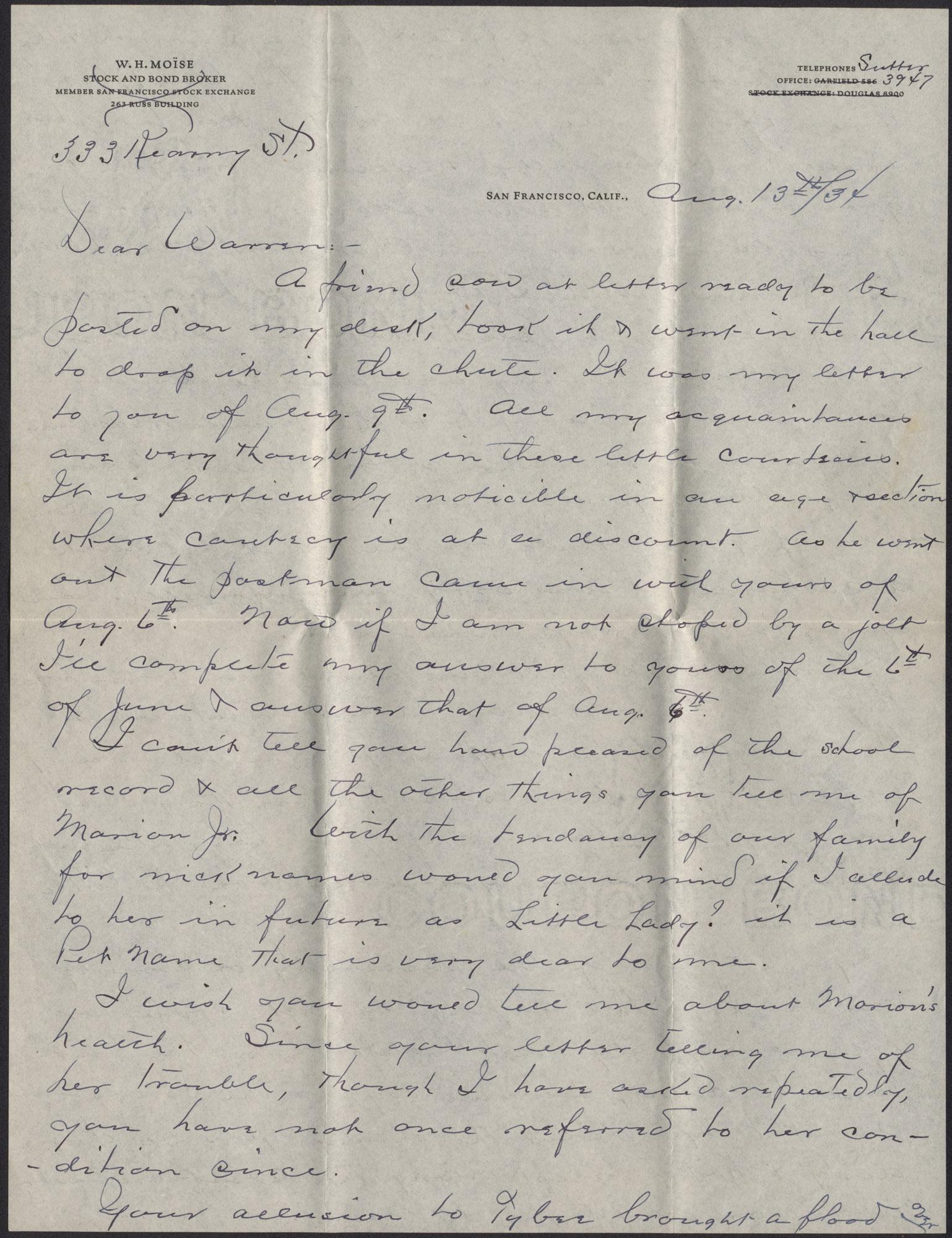 Letters from Warren Hubert Moise to Edwin Warren Moise, August 13, 1934
