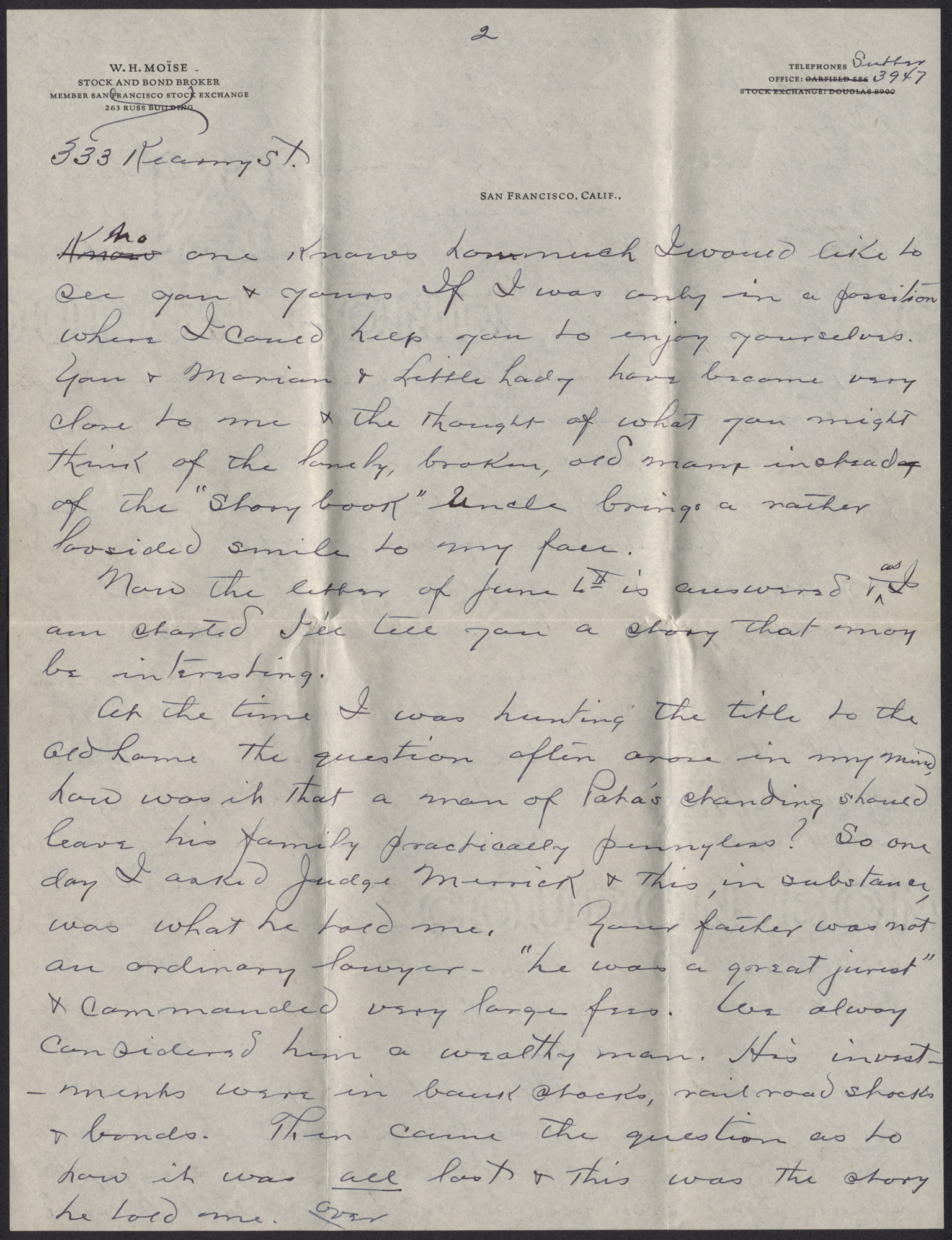 Letters from Warren Hubert Moise to Edwin Warren Moise, Page 3