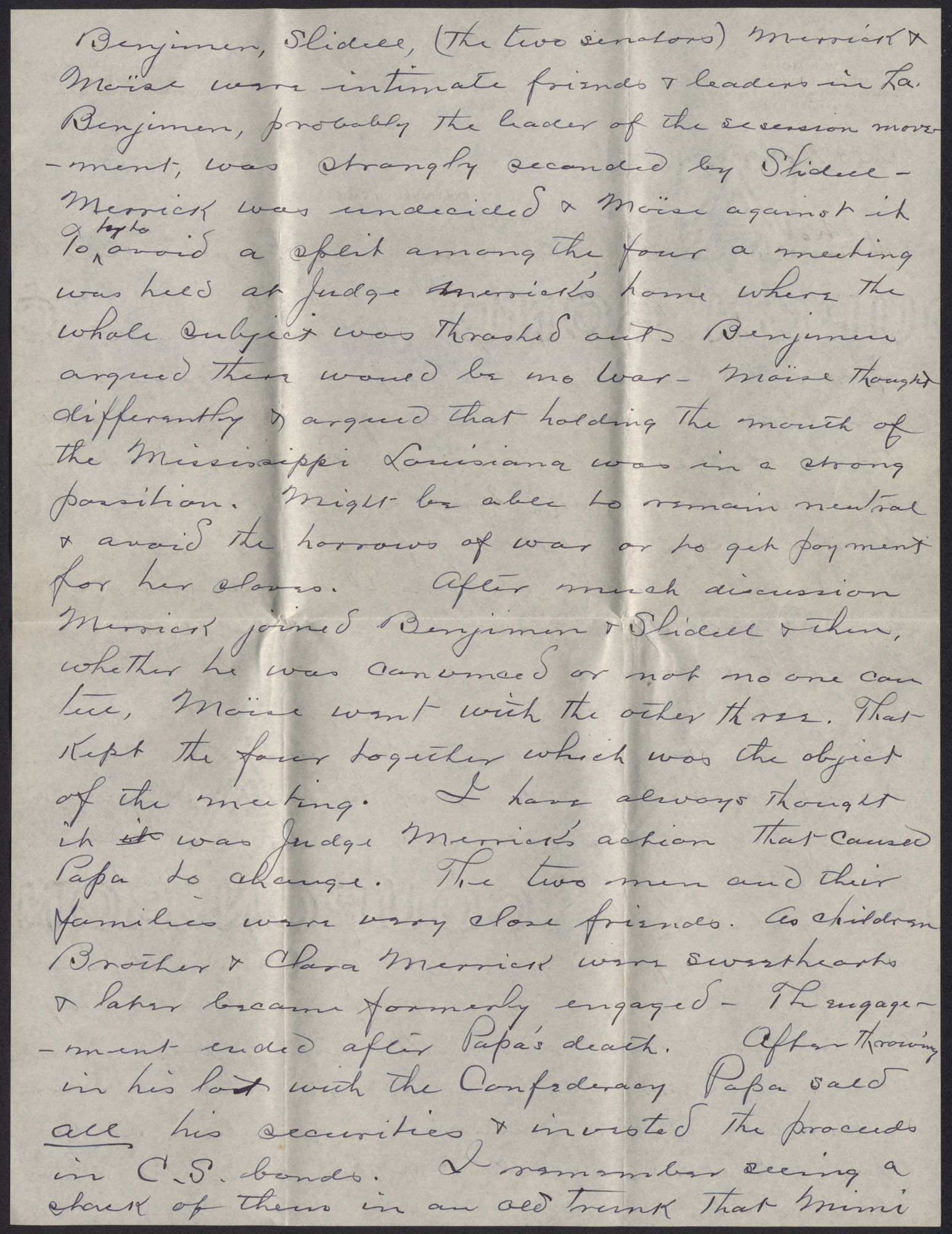Letters from Warren Hubert Moise to Edwin Warren Moise, Page 4