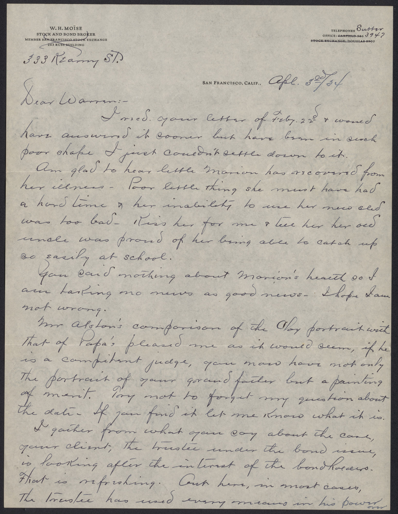 Letters from Warren Hubert Moise to Edwin Warren Moise,  April 3, 1934