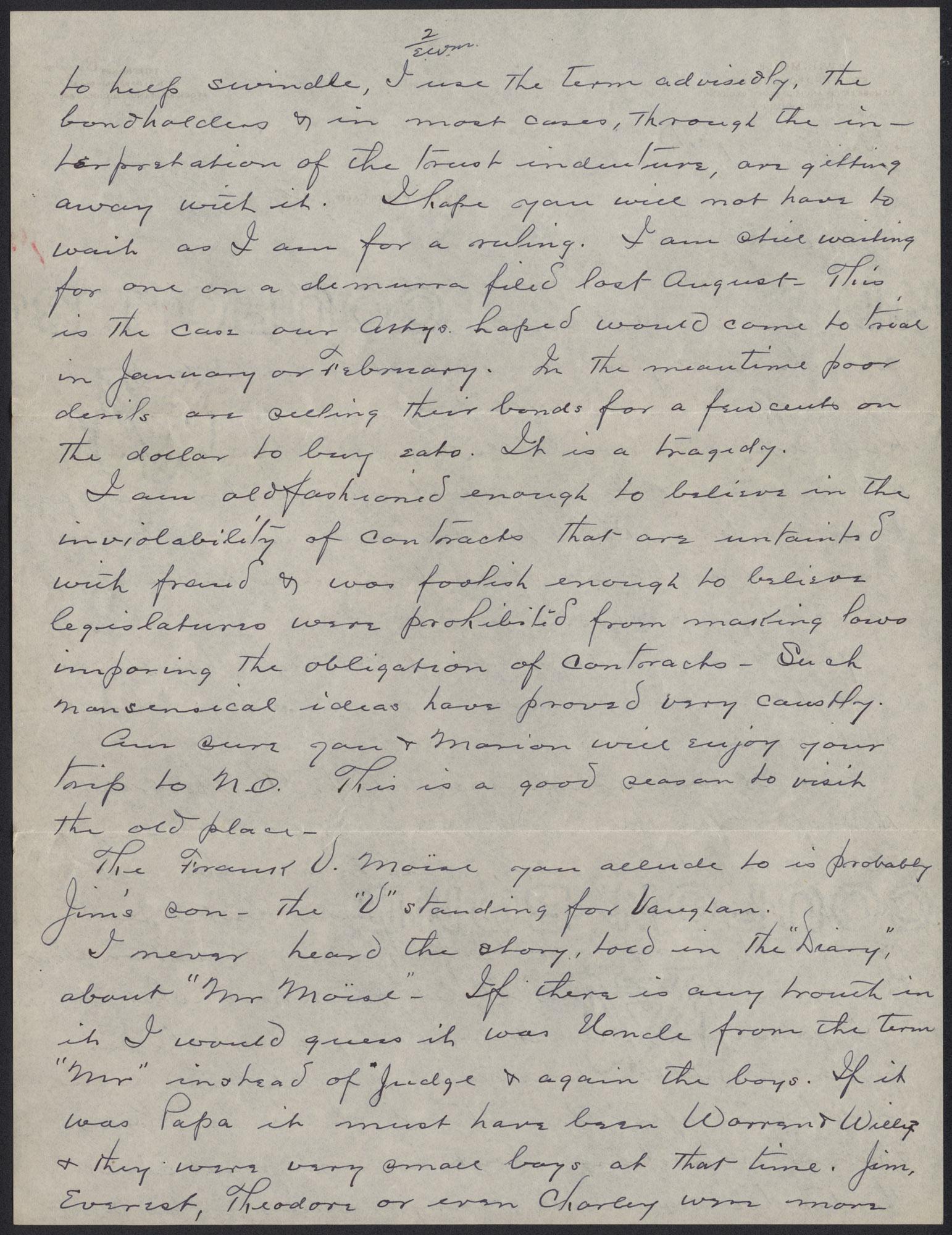 Letters from Warren Hubert Moise to Edwin Warren Moise, Page 2