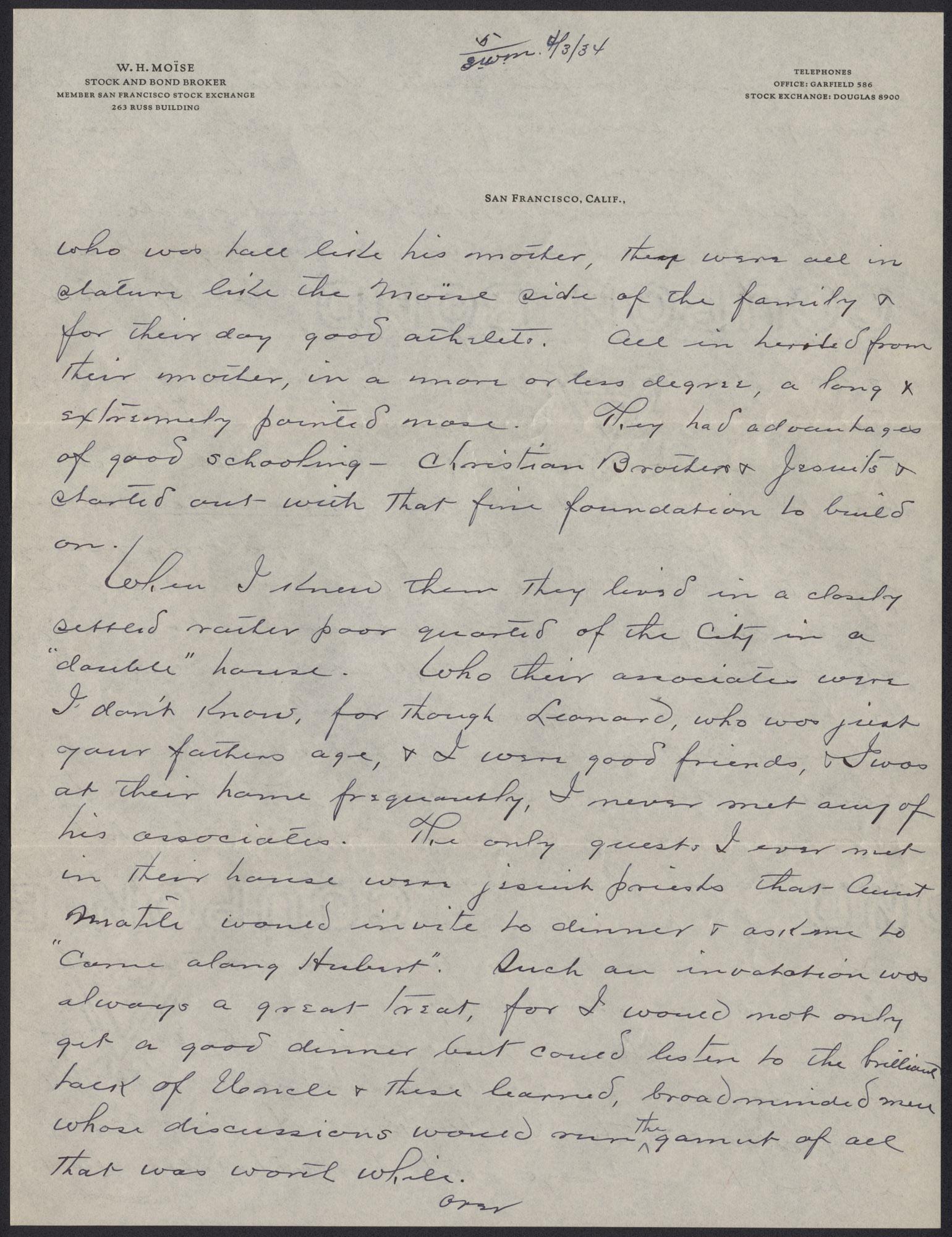 Letters from Warren Hubert Moise to Edwin Warren Moise, Page 5