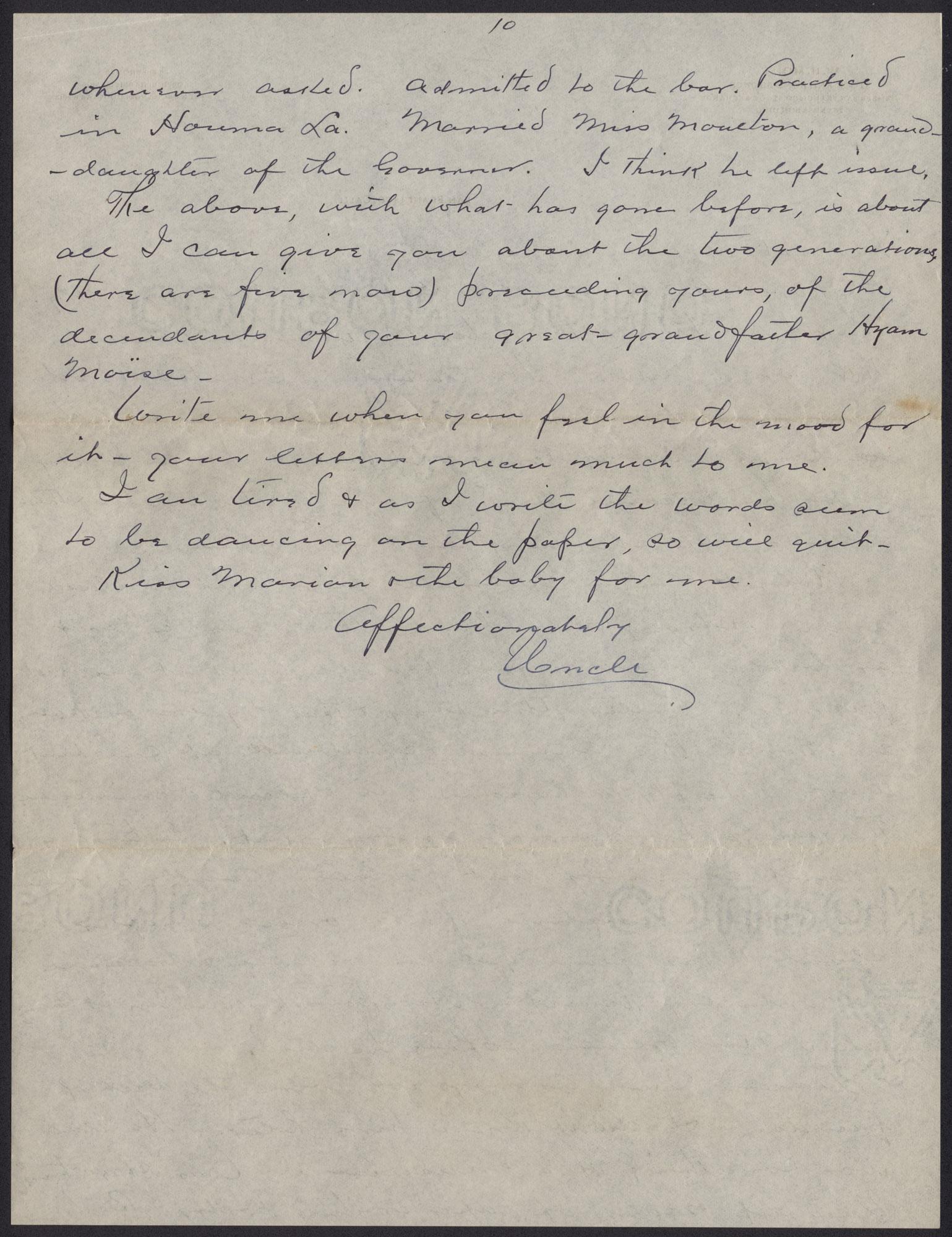 Letters from Warren Hubert Moise to Edwin Warren Moise, Page 10
