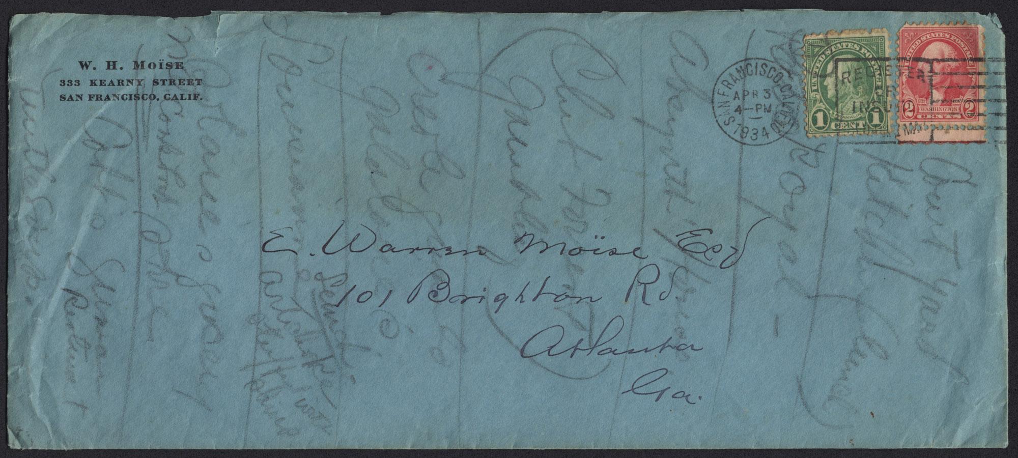 Envelope from Warren Hubert's Letter, Front