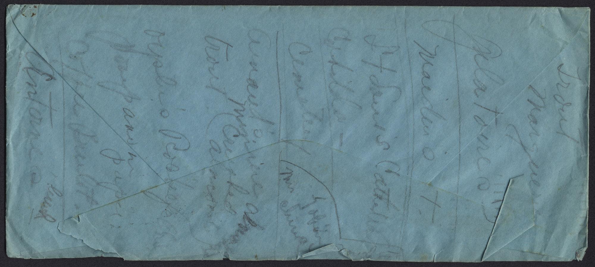 Envelope from Warren Hubert's Letter, Back