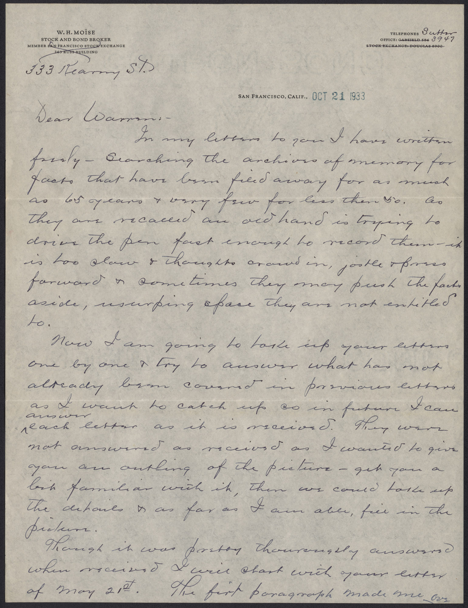 Letters from Warren Hubert Moise to Edwin Warren Moise, October 21, 1933