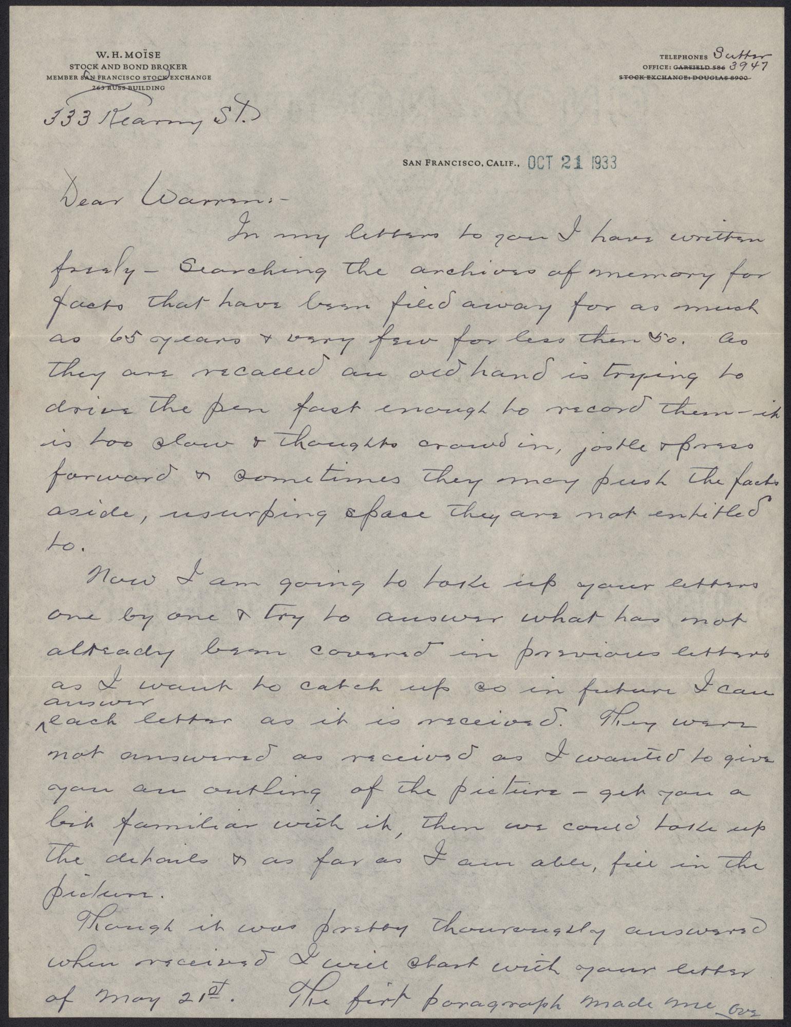Letters from Warren Hubert Moise to Edwin Warren Moise, Page 1