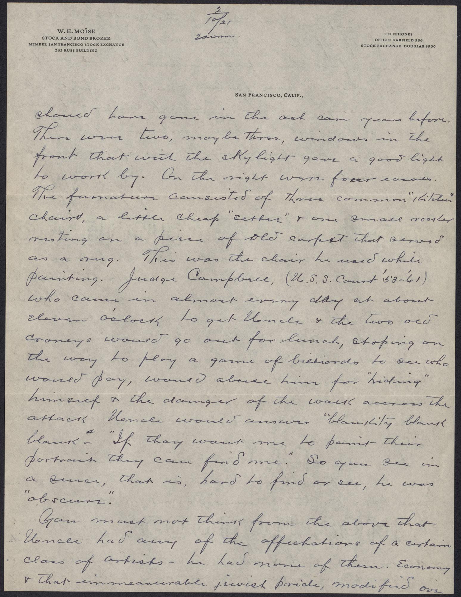 Letters from Warren Hubert Moise to Edwin Warren Moise, Page 3