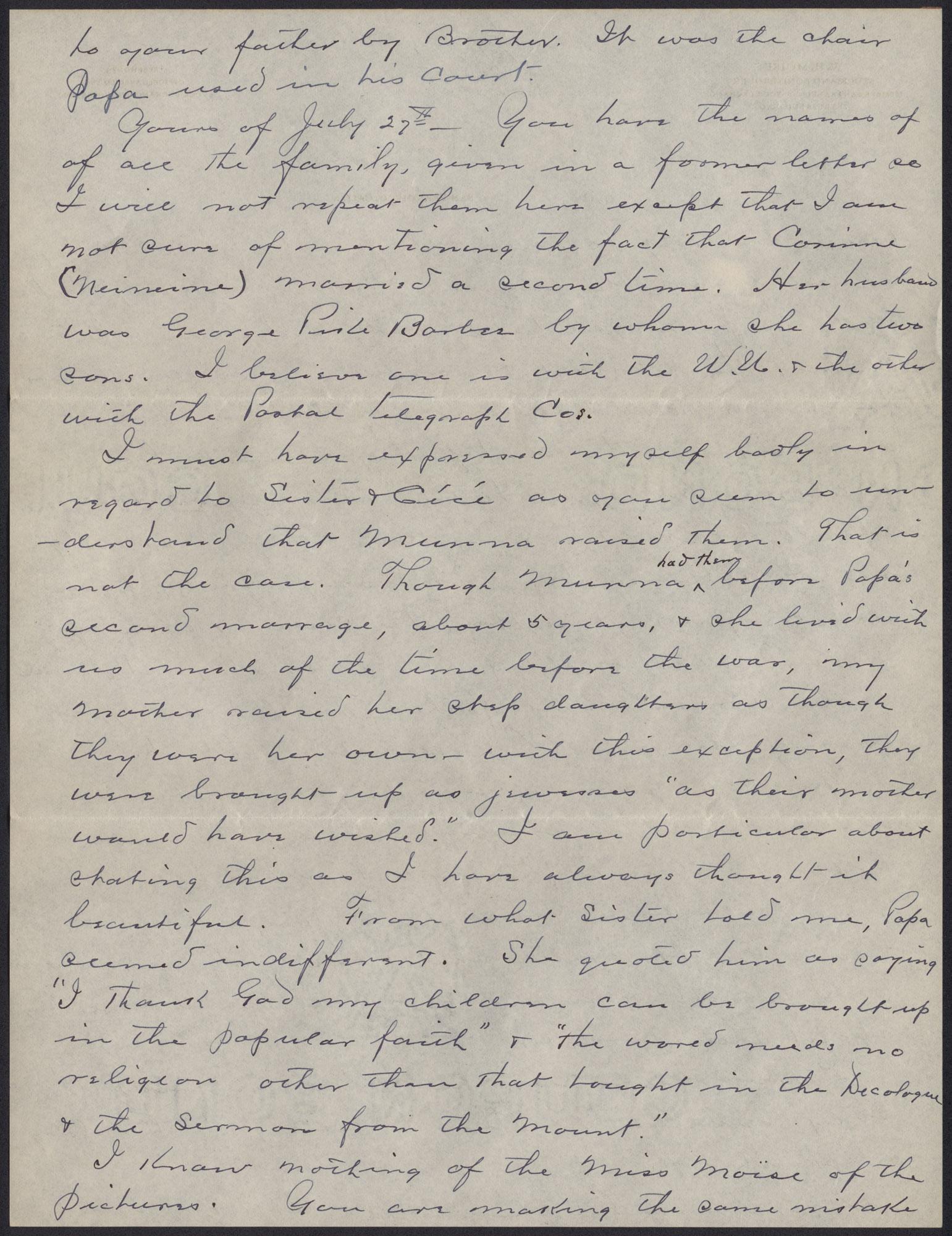 Letters from Warren Hubert Moise to Edwin Warren Moise, Page 8