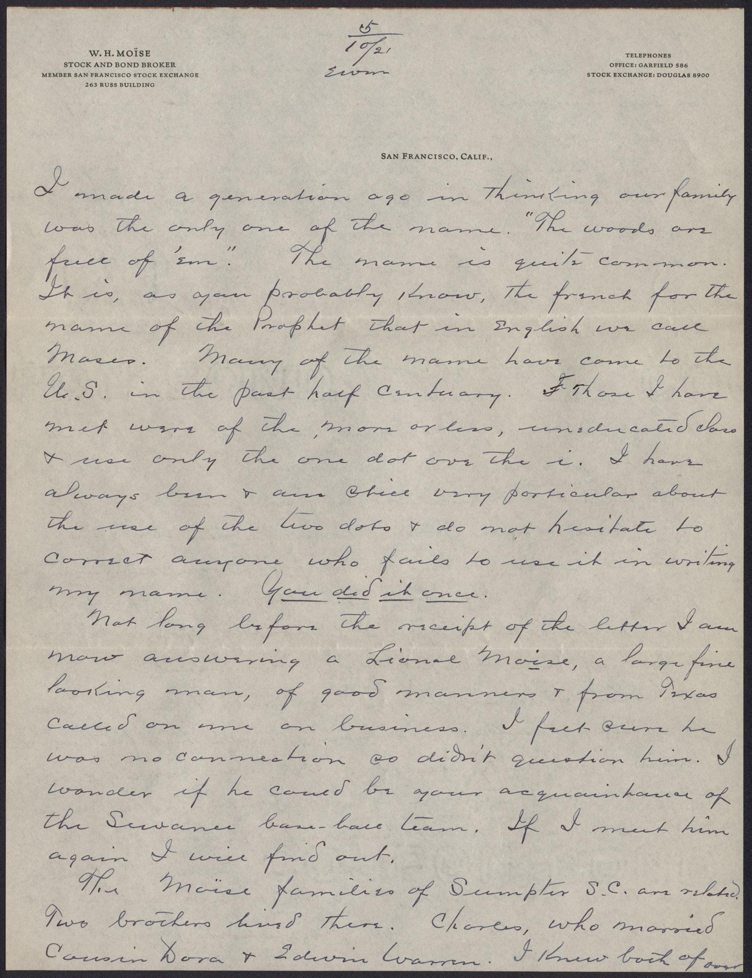 Letters from Warren Hubert Moise to Edwin Warren Moise, Page 9