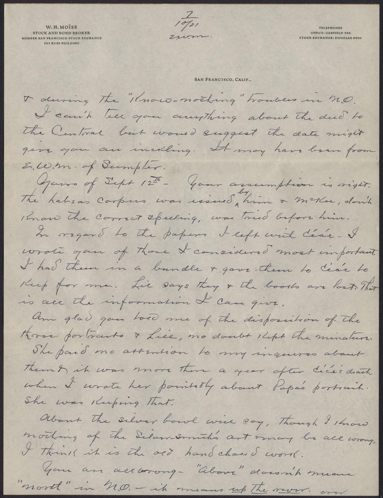 Letters from Warren Hubert Moise to Edwin Warren Moise, Page 13