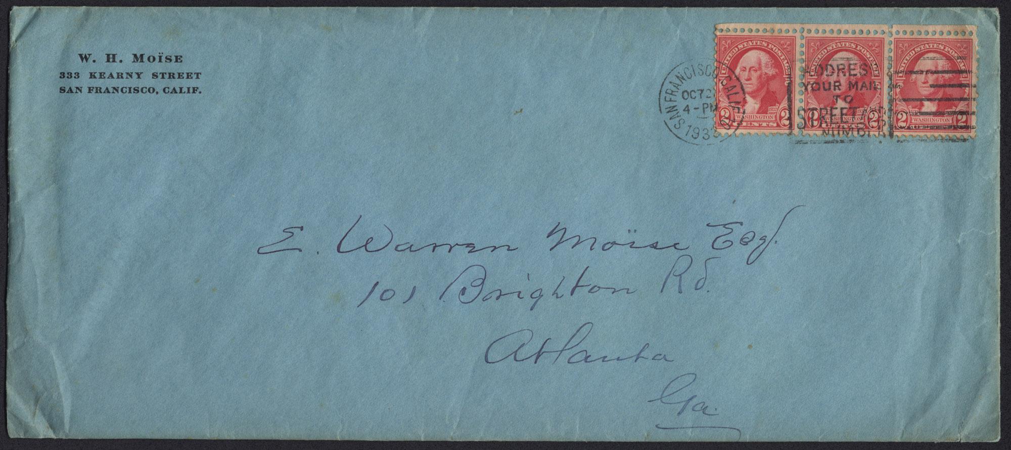 Envelope from Warren Hubert's Letter