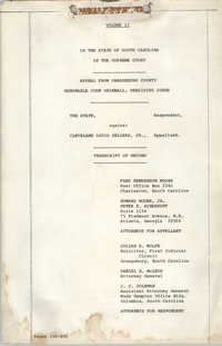 Appeal from Orangeburg County, The State against Cleveland Louis Sellers, Jr., Volume II
