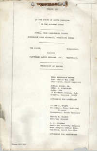 Appeal from Orangeburg County, The State against Cleveland Louis Sellers, Jr., Volume III