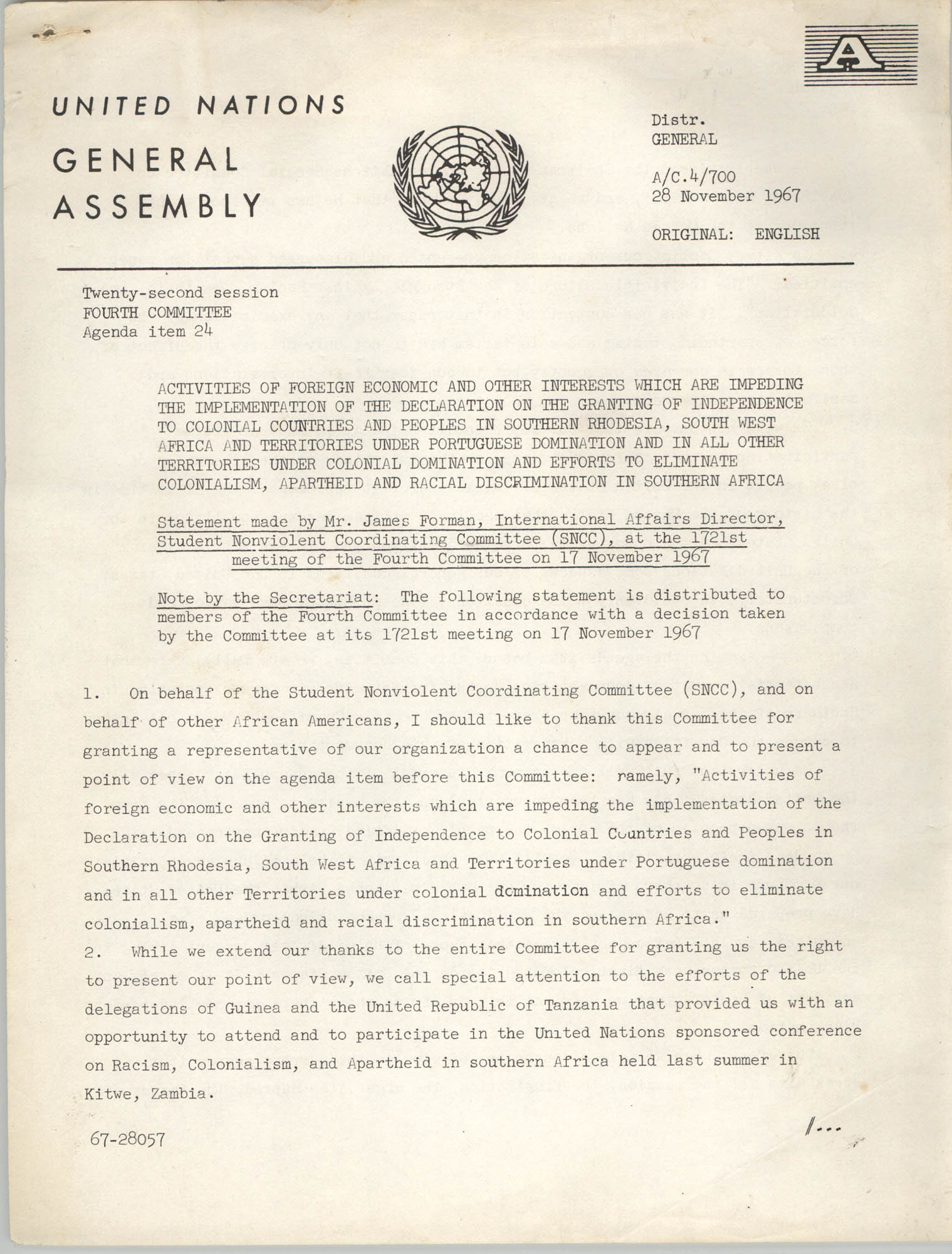 United Nations General Assembly Agenda Item 24: Student Nonviolent Coordinating Committee