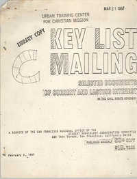 Key List Mailing: Selected Documents of Current and Lasting Interest, February 5, 1967