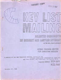 Key List Mailing: Selected Documents of Current and Lasting Interest, November 27, 1967