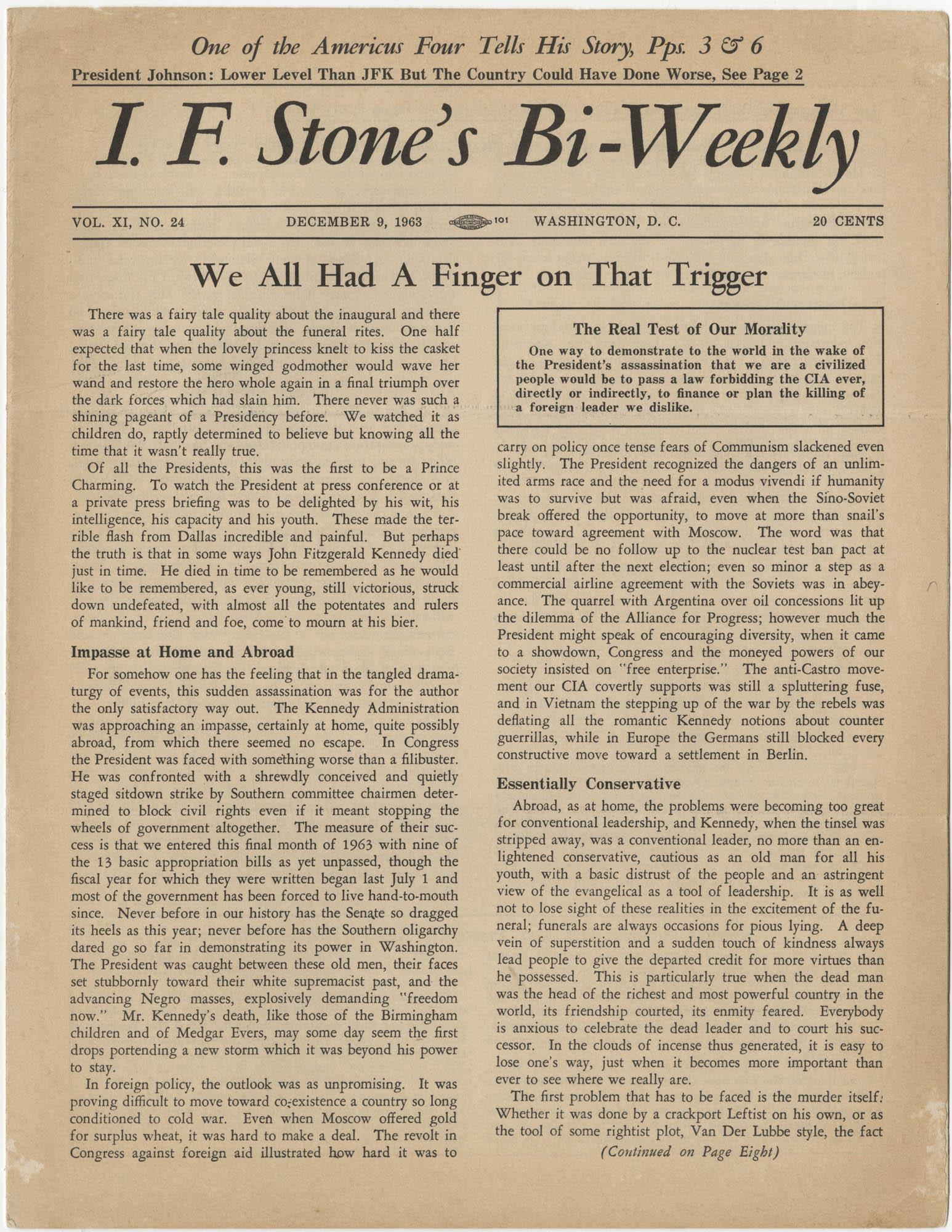 I.F. Stone's Bi-Weekly, Vol. XI, No. 24