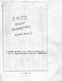 Student Nonviolent Coordinating Committee Staff Directory, First Draft