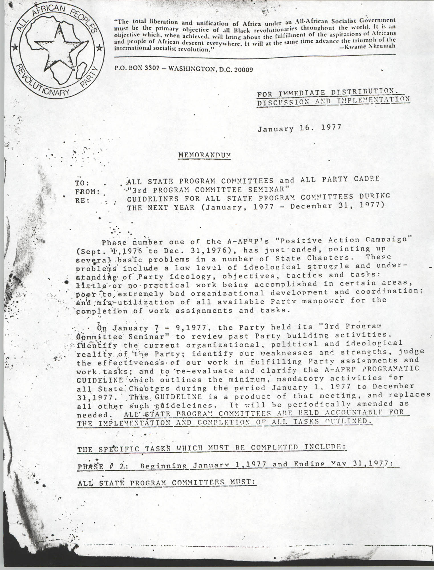 All African People's Revolutionary Party Memorandum, January 16, 1977