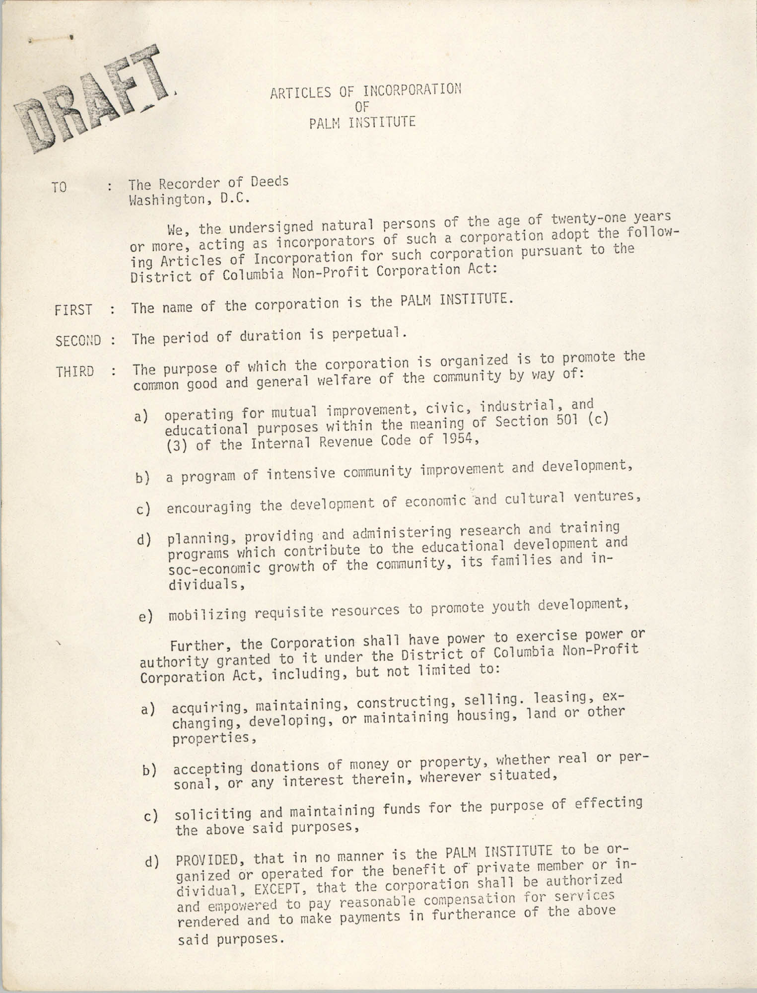 Articles of Incorporation of Palm Institute