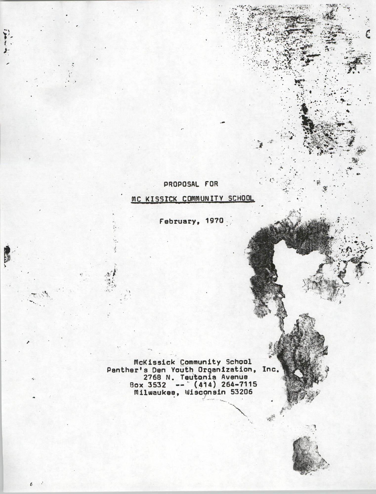 Proposal for McKissick Community School, February 1970