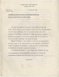 Harvard University and Organization for Black Unity Negotiation Documentation