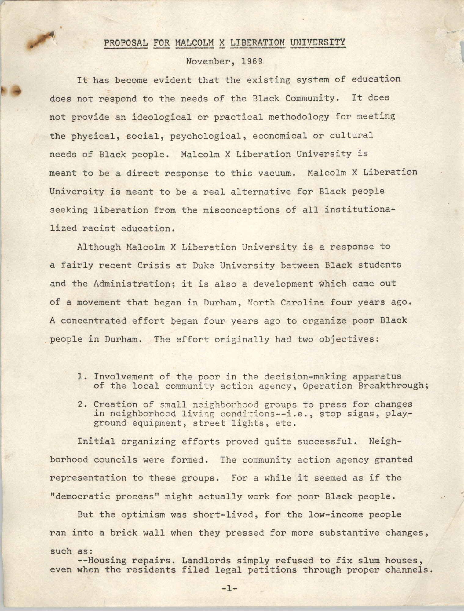 Proposal for Malcolm X Liberation University, November 1969