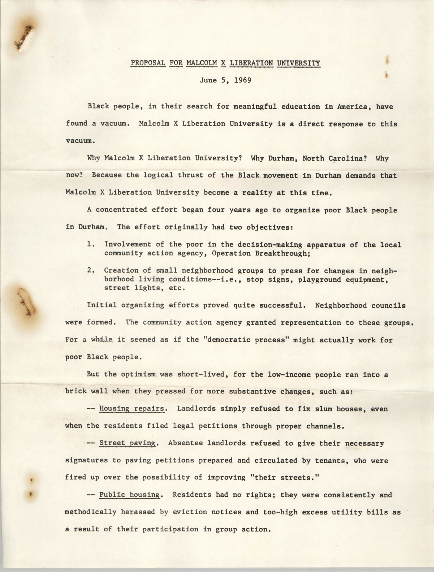 Proposal for Malcolm X Liberation University, June 5, 1969