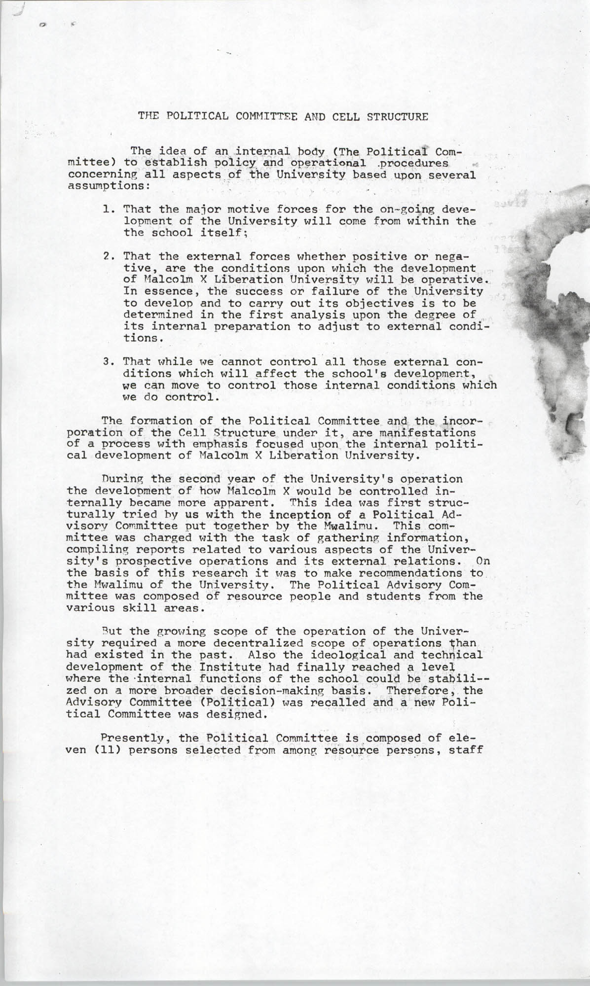 Malcolm X Liberation University Organization and Administration, 1969