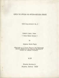 Center for African and African-American Studies Bibliography No. 2