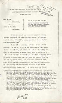 Civil Action No. 75-1411, Charleston Division, Gary Allen vs. James B. Ellisor