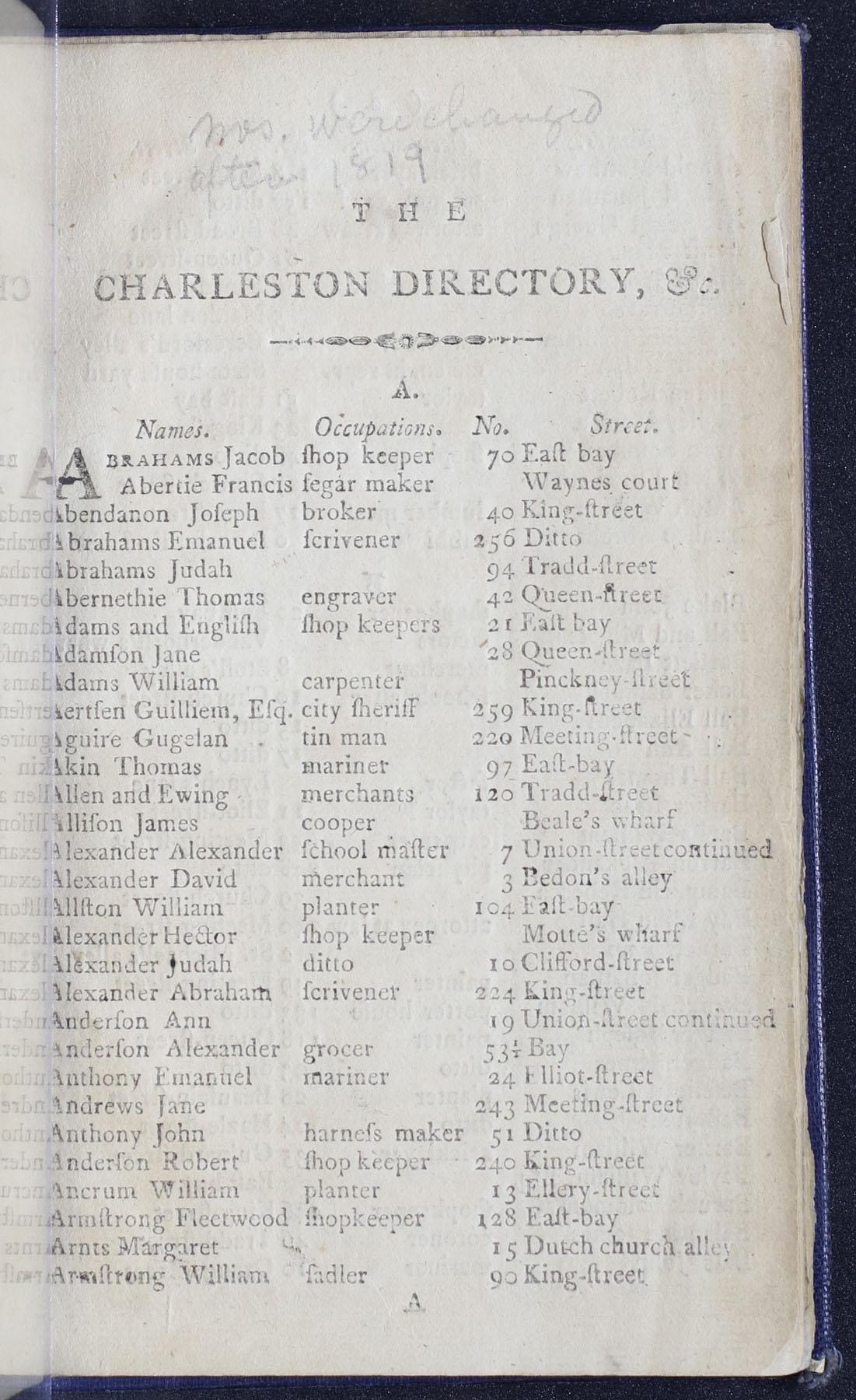 Charleston Directory 1790