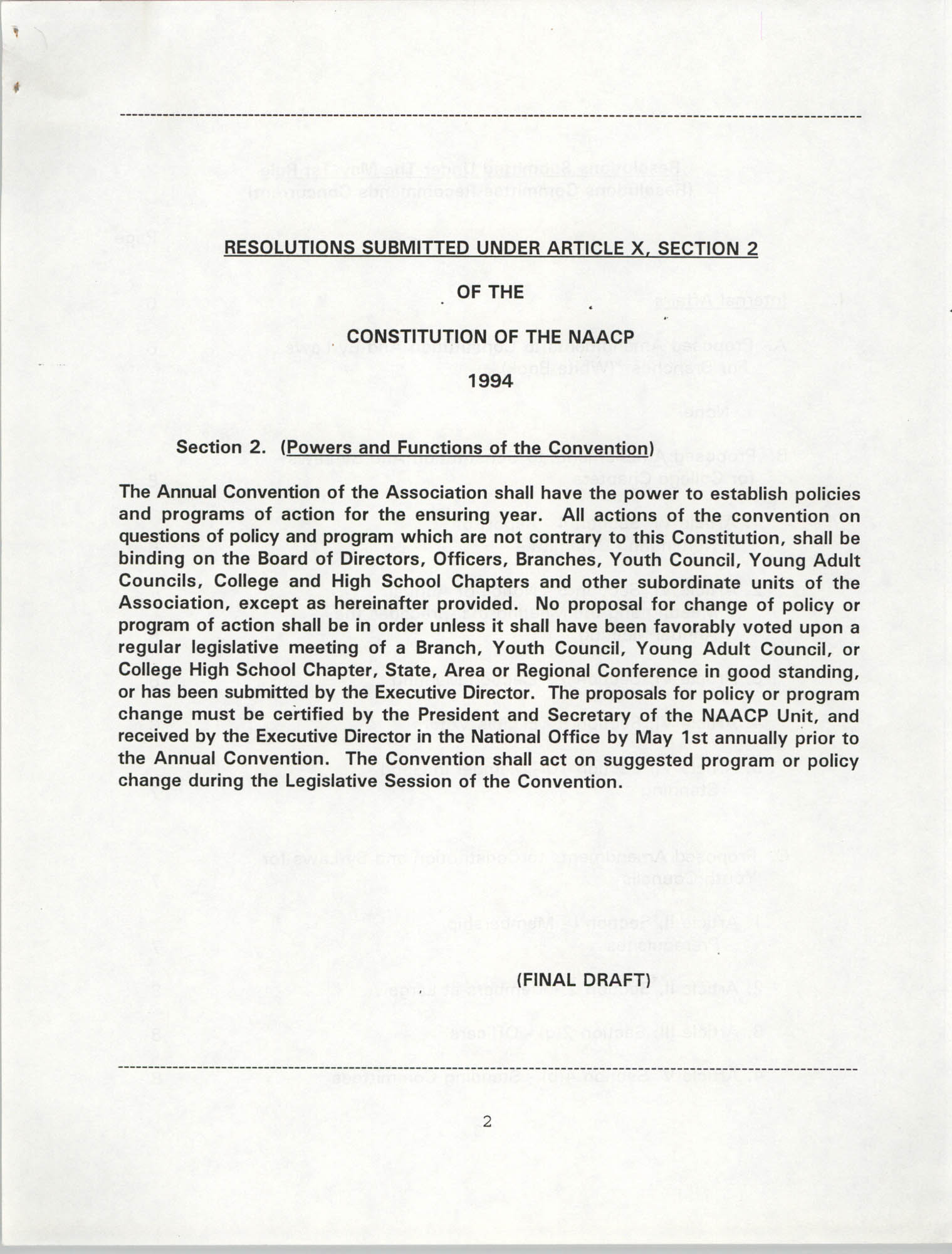 Resolutions Submitted Under Article X, Section 2 of the Constitution of the NAACP, 1994